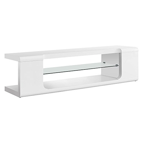 """Monarch specialties , TV Console, High Glossy with Tempered Glass, White, 60""""L"""