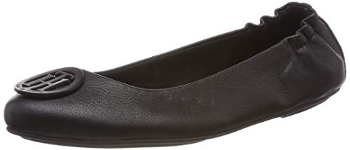 Tommy Hilfiger Damen FLEXIBLE LEATHER BALLERINA Geschlossene Ballerinas, Schwarz (Black 990), 39 EU