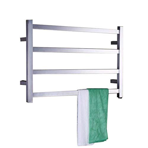 Muebles para el hogar Toallero eléctrico con calefacción de 52w Temperatura constante y bajo consumo Interruptor impermeable oculto 8k Superficie pulida con espejo Radiador de pared de acero inoxid