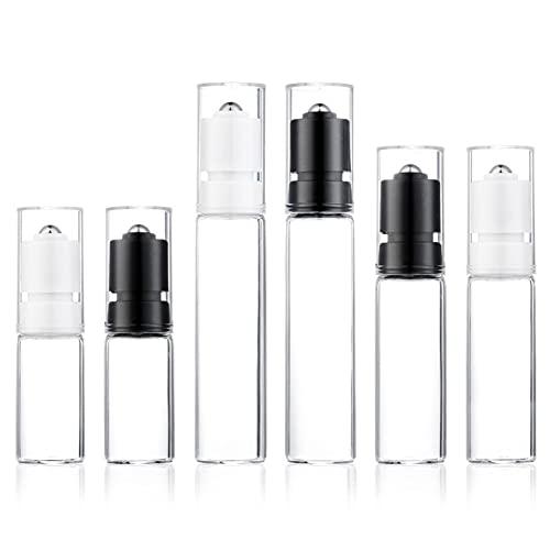 6 Pack Botellas de Rodillos, Transparente Botellas Roll On Cristal para Aceites...