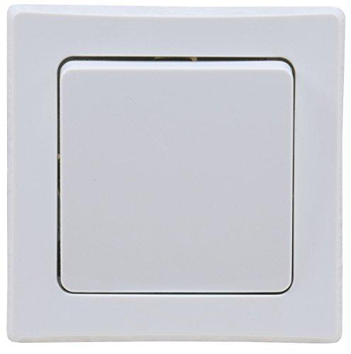 DELPHI Taster 0-250V~/ max. 10A mit 1-fach Rahmen Abnehmbar I Unterputz Einbau Weiß