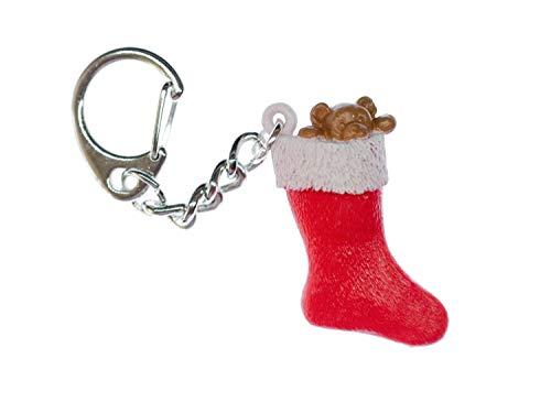Miniblings Weihnachtstrumpf Schlüsselanhänger Anhänger Schlüsselring Socke X-Mas