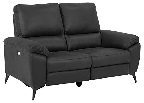 Sofa RIE 2-Sitzer Couch Garnitur Funktionssofa Stoffsofa Relax Recliner grau