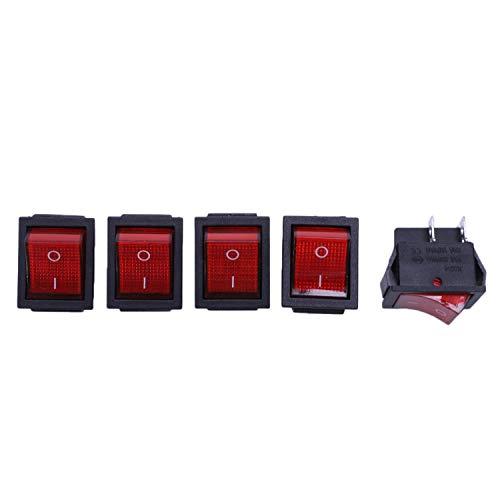 CESUO 5 x Interruptor Basculante Luz Iluminado Rojo On/Off DPST 16A/250V 20A/125V CA