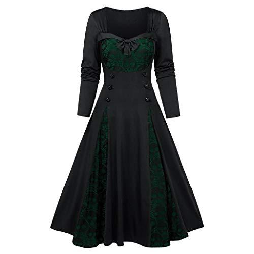 Xmiral Dress Dam med huva döskalle tryck rosett hög midja vintage plus size klänningar