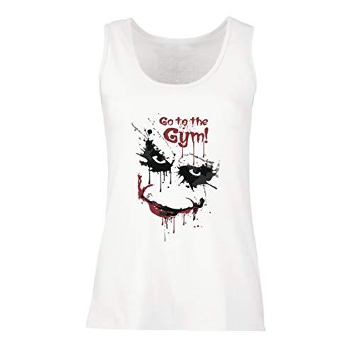 lepni.me Camisetas sin Mangas para Mujer IR al Gimnasio Asustado Cara de Payaso (XX-Large Blanco Multicolor)