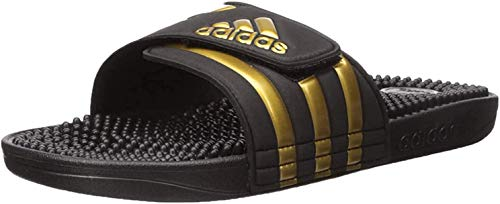adidas Men's Adissage Slides, Black/Gold Metallic/Black, 12