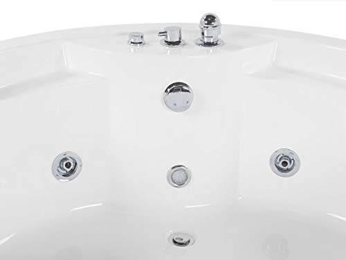 Whirlpool Badewanne Florenz mit 14 Massage Düsen + Heizung + Ozon Desinfektion + Beleuchtung / Licht + Wasserfall + Radio – Eckwanne Sprudelbad Jakuzzi indoor / innen günstig - 5