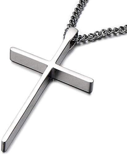 DUEJJH Co.,ltd Collar pequeño con Colgante de Cruz Unisex para Hombre y Mujer en Acero Inoxidable Color Plata Pulido