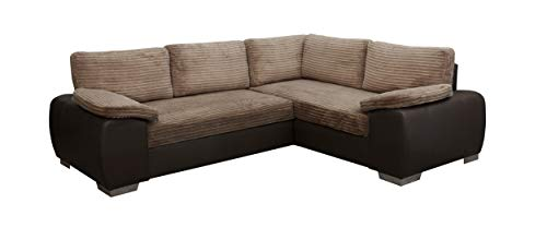 ENZO - CORNER SOFA BED WITH STORAGE - JUMBO CORD FABRIC LEATHER - RIGHT HAND SIDE ORIENTATION (BROWN)