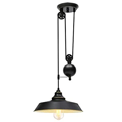 KingSo Rustic Pulley Pendant Light One Light Adjustable Height Industrial Black Ceiling Hanging Light Indoor Island Lamp for Dining Living Room Kitchen Hallway Foyer Farmhouse, 1 Head
