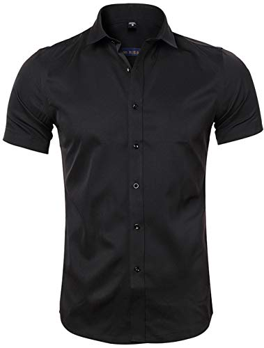 Harrms Camicia in Fibra di bambù Uomo, Manica Corta Slim Fit, T-Shirt Formale per Uomo, Nero, XS