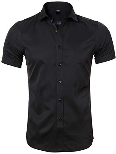 Camisa Bambú Fibra Hombre, Manga Corta, Slim Fit, Camiseta