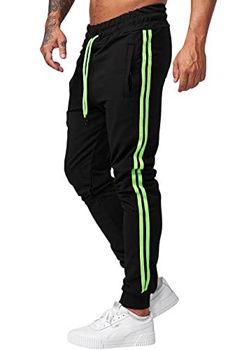 Code47 Pantalones de chándal para hombre, negro y verde, XXL