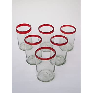 Mexican Blown Glass Drinking Glasses Ruby Red Rim (Set of 6)
