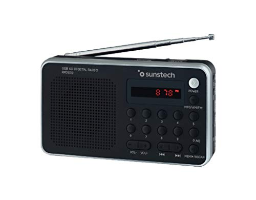 Sunstech RPDS32SL - Radio portátil digital (AMFM PLL, altavoz, USB, SD, MMC, 1.5 W RMS) color plata