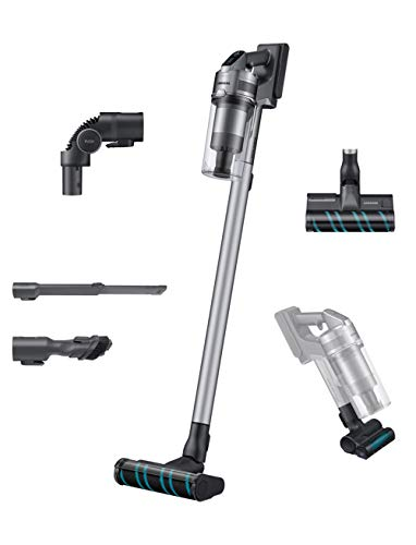 Samsung Jet 75 Stick Cordless Lightweight Vacuum Cleaner with Removable Long Lasting Battery and 200 Air Watt Suction Power, Complete with 180 Deg Swivel Brush, Titan Silver