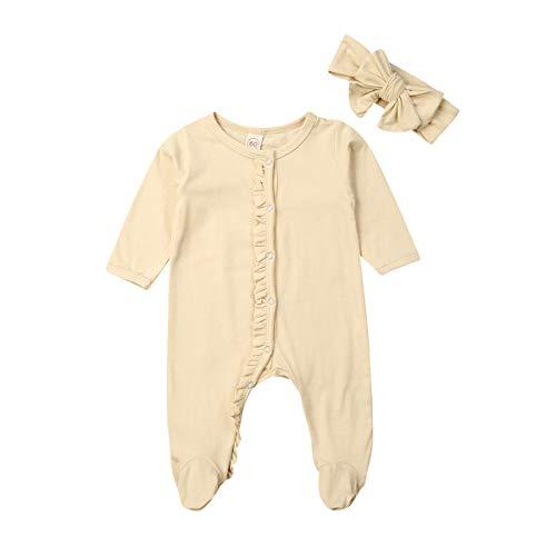 CHRONSTYLE Baby Mädchen Jungen Pyjama Footed Sleeper Langarm Rüschenoverall mit Stirnband Kleidung Set Unisex Schlafsack Baumwolle Strampler Bodysuit (beige, 70)