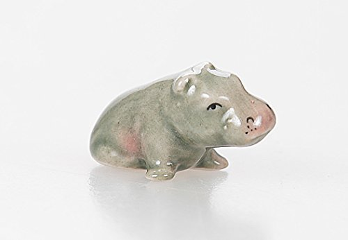 WitnyStore Hippopotamus Figurine - Collectible Animal Art - Miniature Hand Made and Painted Ceramic Table Decor Perfect for Gifts and Souvenirs - 1 1/4  L x 3/4  H x 1/2  W