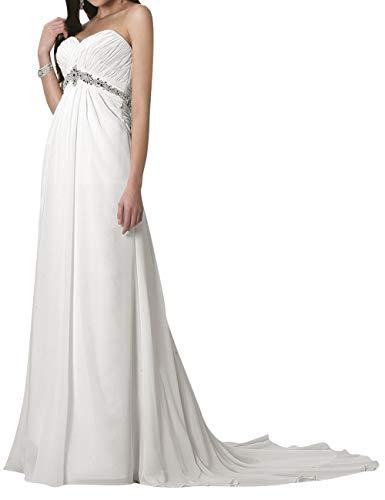 Brautkleider Elegant Lang A-Linie Hochzeitskleider Standesamt Ärmellos Brautmode Abendkleider mit Schleppe Elfenbein 48