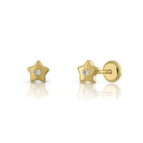Pendientes Oro de Ley Certificado, estrella con circón engastada de 1.5mm. Medida joya 5 mm, con cierre de rosca.