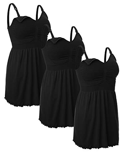 iloveSIA Women's Maternity Nursing Tank Tops Breastfeeding Pajamas with Built in Bra Cami Shirt 3 Pack Black+Black+Black Size 3XL