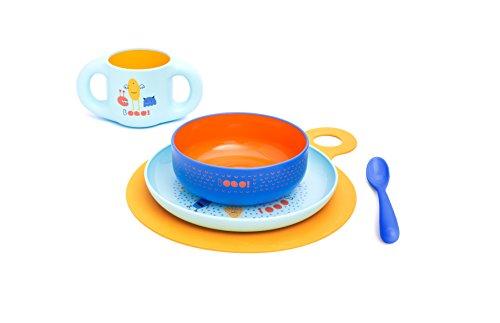Suavinex 3158372,  Set vajilla aprendizaje Booo (Taza, Plato, Bol, Cuchara y Mantel). Vajilla bebés +6 meses, apto para microondas y lavavajillas, Azul