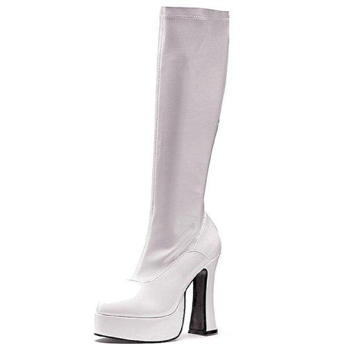 Ellie Shoes Women's Chacha Boots - 5-Inch Platform Go Go Boots, White Patent, 5