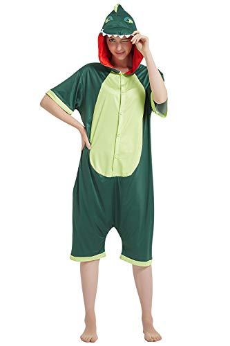 YAOMEI Adulto Unisexo Onesies Kigurumi Pijamas Verano, Mujer Hombres Traje Disfraz Animales Mangas Cortas, Ropa de Dormir Halloween Cosplay Navidad de Vestuario (XL, Dinosaurio)