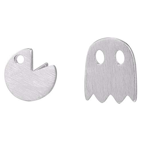 Ghost Stud Earrings Cute Pac Man Earring Tiny Women Simple Cool Jewelry (Silver)
