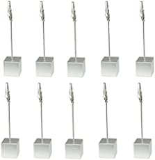Metal Alligator Clip Stick 10 Pieces, Modeling Tool Set with 1Pc Plastic Base for Airbrush Hobby Model Parts Models Assemble - Square Shape Silver