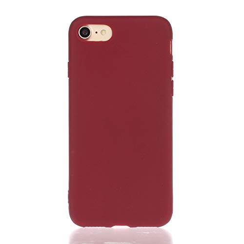 Everainy Compatibel voor iPhone 7/iPhone 8 Silicone Geval Hoes Ultra slank Zaak Ultradun Hoesje Rubber Stootvast Bumper Schokbestendig TPU Gel Case Cover (rood 1)