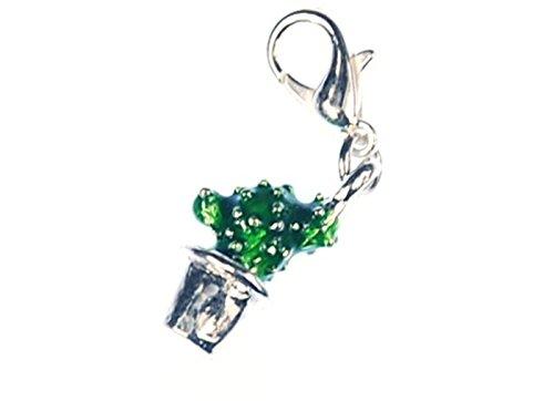 Miniblings Kaktus Charm Kakteen Pflanze Wüste grün emailliert Topf - Handmade Modeschmuck I Kettenanhänger versilbert - Bettelanhänger Bettelarmband - Anhänger für Armband