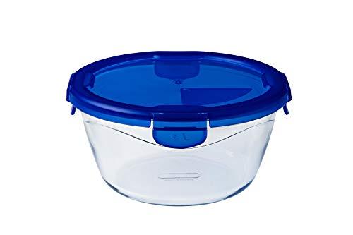 Dajar Cook & Go Glasbehälter mit Deckel Cook und Go, oval, Pyrex, 0,7 L, Glas, Blau/transparent, 15 cm