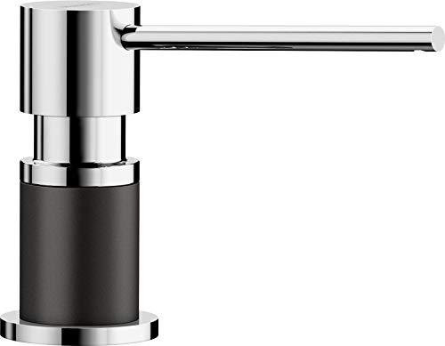 Blanco LATO – Einbau Spülmittelspender für die Küchenspüle – leichte Befüllung von oben – 500 mL Behälter – SILGRANIT-Look Anthrazit / Chrom – 525810