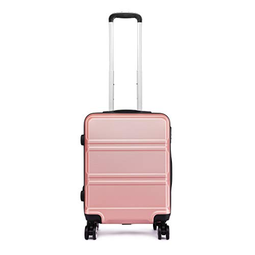 Kono 55cm Hard Shell Cabin Case 38L Carry On Hand Luggage 4 Wheeled Spinner Suitcase with TSA Lock (Rose Golden)