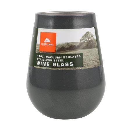 Ozark Trail Vacuum Insulated Stainless Steel Wine Glass 14 Ounce - Gray