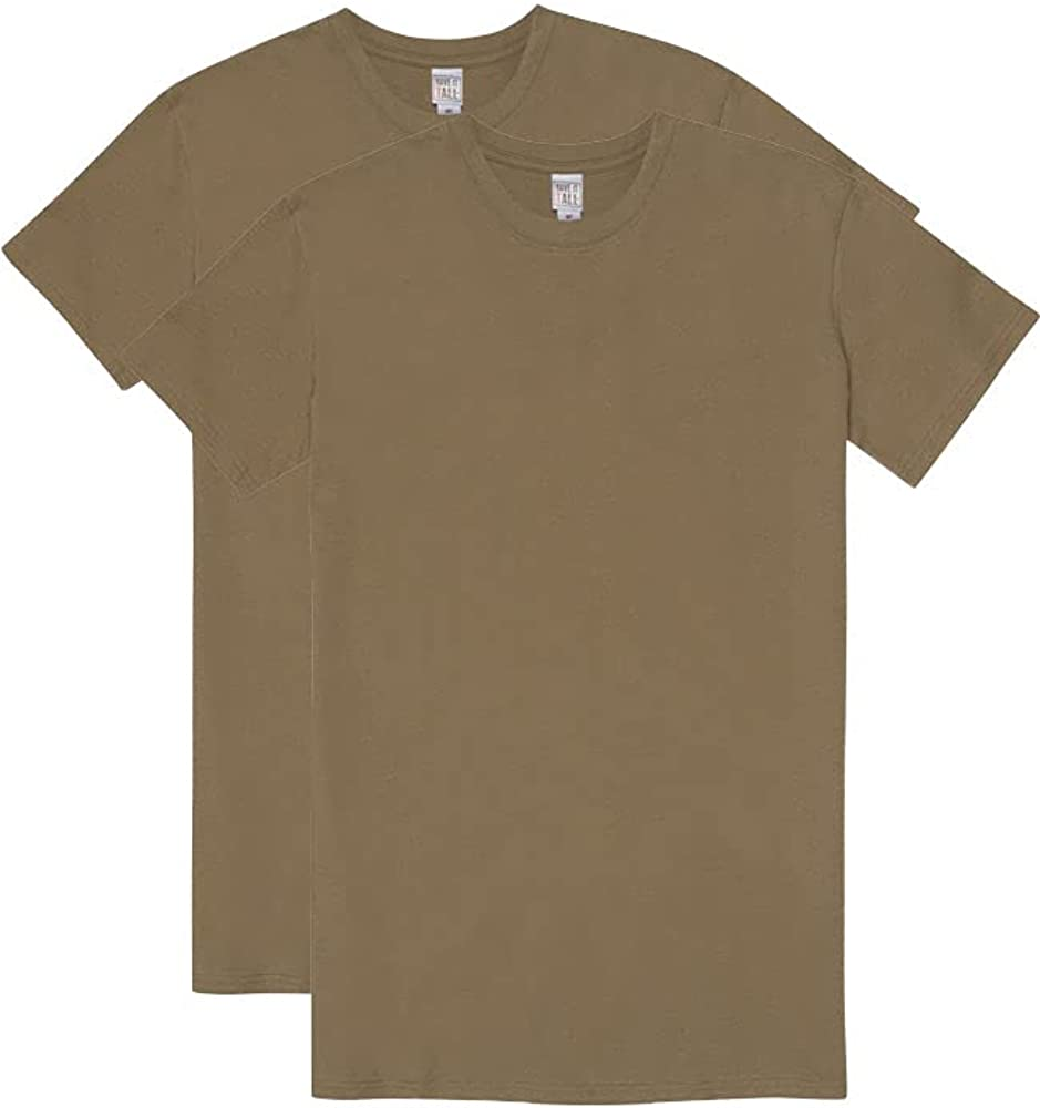 Have It Tall Men's Military T-Shirt 100% Ring Spun Cotton   2 Pack