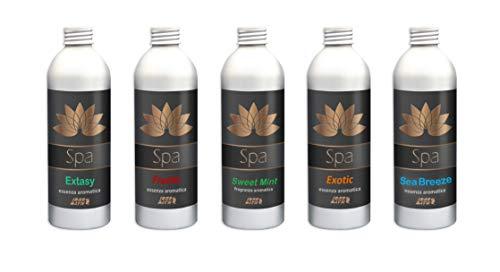 Fragancias aromáticas concentradas para spa (5 unidades) x 250 ml cada uno. + vaso dosificador. Fragancias variadas para spa y hidromasaje (Jacuzzi, Teuco, Dimor, Index, Bestway, etc.).