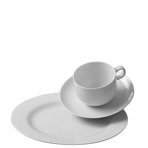 Rosenthal - Moon Kaffeeset 18-TLG. Weiß 6 x Frühstücksteller 22 cm / 6 x Kaffeetasse 2-TLG.