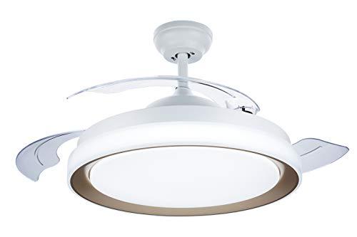 Philips Lighting Bliss - Ventilador de techo con luz LED y mando, 80W, luz blanca de cálida a fría (3000-5500K), diametro 510mm, color blanco y dorado