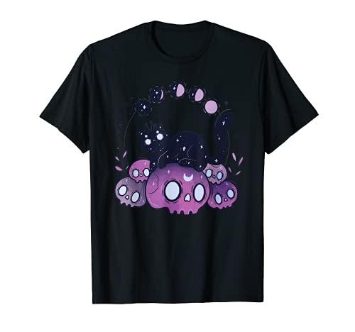 カワイイパステルゴスアート猫と頭蓋骨ムーンフェイズタトゥー Tシャツ