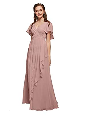 ALICEPUB Chiffon Bridesmaid Dresses Dusty Rose Long Formal Evening Prom Dress with Flutter Sleeve, US6