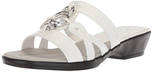 Easy Street Women's Torrid Flat Sandal, white crocodile, 8 2W US