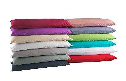 Doppelpack Baumwolle Renforcé Kissenbezug, Kissenbezüge, Kissenhüllen für Seitenschläferkissen 40x145 cm in 8 modernen Farben rot