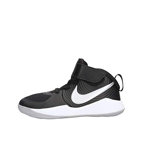 Nike Unisex-Kid's Team Hustle D 9 (PS) Sneaker, Black/Metallic Silver-Wolf Grey, 11C Regular US Little Kid