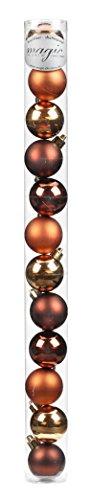 12 Christbaumkugeln 4cm ( Christmas Cookies - Kupfer Kaffee ) Kunststoff bruchfest // Dekokugeln Weihnachtskugeln Baumkugeln Baumschmuck Set Inge-Glas Plastik PVC 40mm