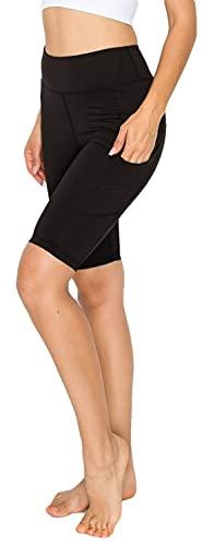 YOGALANDUSA Women's Yoga Biker Shorts - High Waisted 4 Way Stretch Side Pockets Soft Non-Brushed Active Workout Bike Leggings YSP4007NB Black L