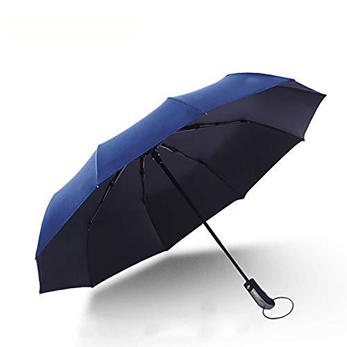 ZUEN Vollautomatische Dach Winddicht Neutral Verstärkt Regen Und Schnee Wetter Dual-Use-Student Sonnenschirm, Schatten, Regen Und Schnee Falten Sind Verfügbar,Blau