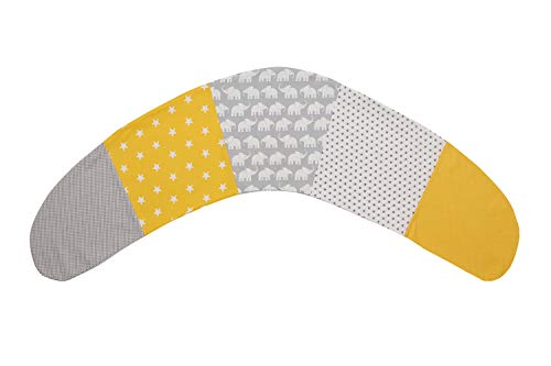 ULLENBOOM ® Stillkissenbezug 190 cm x 38 cm Elefant Gelb (Made in EU) - Bezug für Stillkissen, Seitenschläferkissen & Co mit den Maßen 190x38 cm, 100% Ökotex zertifizierte Baumwolle